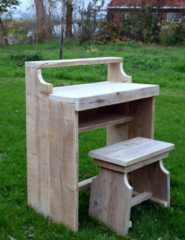 Bauholz Schreibtisch Nette mit Hocker