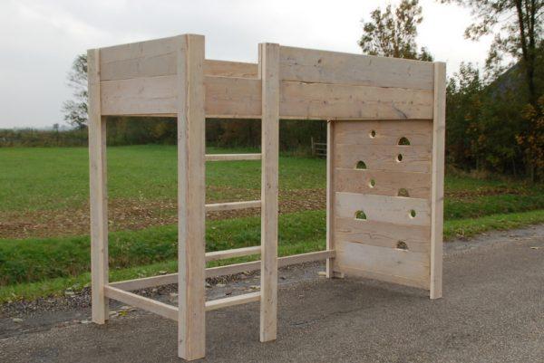 Bauholz Hochbett Hohes Holz mit Kletterwand